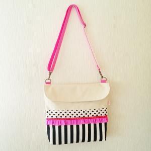 帆布のkidsショルダーバッグneon pink(受注製作)「hussement innocent」|hi-inari
