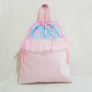 DM便送料無料 パステルカラーなフリルの体操服入れ ピンク(受注制作)|hi-inari