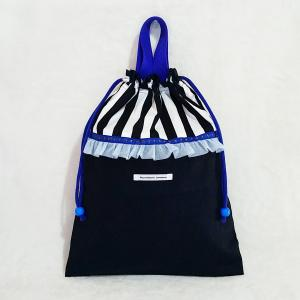 DM便送料無料 ブルーとモノクロのちょっとキッチュな体操服入れ・black(受注製作)|hi-inari