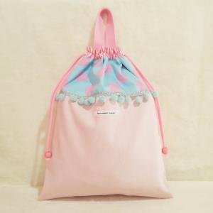 DM便送料無料 パステルカラーなドットの体操服入れ pink(受注制作)|hi-inari