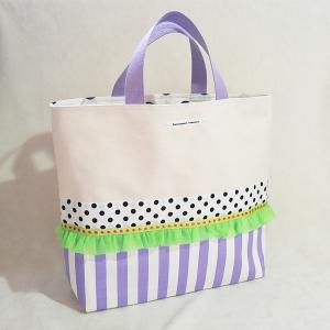 ネオングリーンとパープルの帆布トートバッグ・大(受注制作) |hi-inari