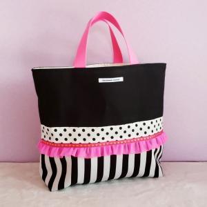 黒帆布とピンクの裏地巾着付きトートバッグ・大(受注製作)「haussement innocent」|hi-inari