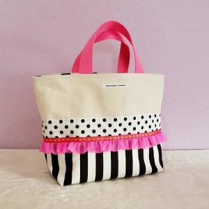 ネオンピンクとモノクロのちょっとキッチュな帆布のトートバッグ(受注制作)お散歩バッグやちょっとしたお出掛けにも |hi-inari