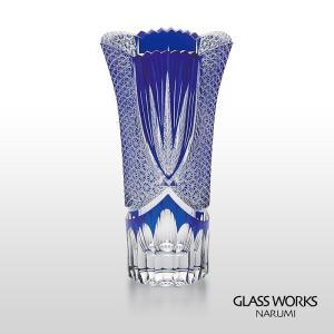 ( グラスワークス / ナルミ ) 色被せ花瓶 / スワール ( ブルー ) フラワーベース 青|hi-select