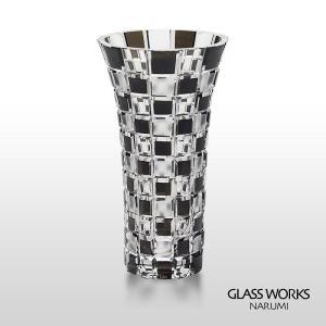 ( グラスワークス / ナルミ ) 色被せ花瓶 / アーバン ( ブラック ) フラワーベース 黒|hi-select