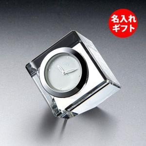 ( グラスワークス / ナルミ ) コフレミニクロック クリア ( 彫刻 ネーム入り ) ガラス 時計 クロック 記念品 名入れ メッセージ|hi-select