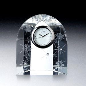 ( グラスワークス / ナルミ ) スノー&スター クロック ガラス 時計 クロック 記念品|hi-select
