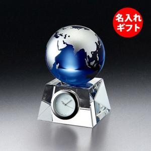 ( グラスワークス / ナルミ ) ブルーアース デスククロック S ( 名入れ メッセージ 名前入り )  記念品 ガラス 時計 ネーム 彫刻|hi-select