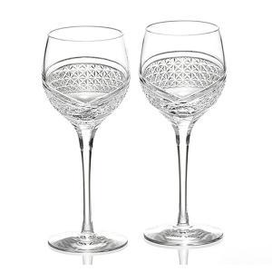( カガミクリスタル / ガラス ) 江戸切子 ペアワイングラス 羽衣 ( KWP84-2902 ) クリスタル ペア ワイン|hi-select