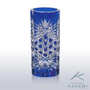 ( カガミクリスタル ) 江戸切子 花瓶 ( F683-1971-CCB ) 切り子 クリスタル フラワーベース|hi-select