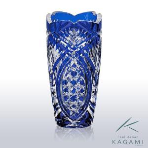 ( カガミクリスタル ) 江戸切子 花瓶 ( F496-2702-CCB ) 切り子 クリスタル フラワーベース|hi-select