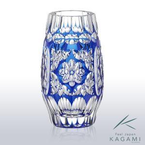 ( カガミクリスタル ) 江戸切子 花瓶 ( F211-2567-CCB / 伝統工芸士 / 篠崎清一 ) ( 受注生産商品 ) 切り子 クリスタル フラワーベース|hi-select