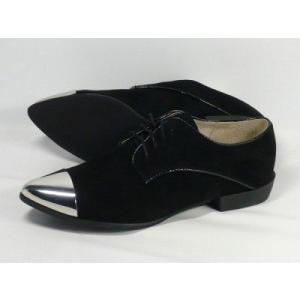 訳ありオールブラック オックスフォード シューズ ALL BLACK JAZZ TIPS 本革 レディース スエード23.5cm 37 ab001|hi-style