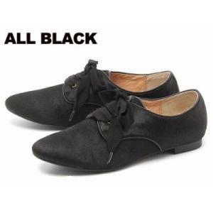 訳あり品 オールブラック オックスフォード シューズ レースアップ ハラコ黒23.0cm 36 ALL BLACK FR1 ab002|hi-style