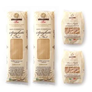 オーガニック パスタ ソル・レオーネビオ:ペンネリガーテ2個&スパゲッティ2個の合計4個セット 有機栽培の小麦のみを使用 250g×2&500g×2の合計4個セット hi-syokuzaishitsu