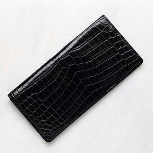 8a7fd856f89a クロコダイル ワニ革 長財布 札入れ ブラック メンズ 日本製 無双 レザック LE'SAC 8126