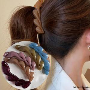 ひすい クリップ ウエーブ・クリップ全5色!!翡翠カラー三つ編みデザインヘアクリップヘアアクセサリー 上品 かわいい|hiatariryoukou