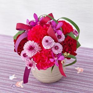 日比谷花壇 和風 アレンジメント「桃手まり」レッド|hibiyakadan