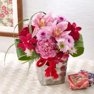 日比谷花壇 和風 アレンジメント「紅」 ピンク|hibiyakadan
