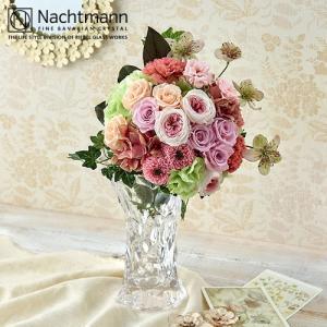 日比谷花壇 プリザーブドフラワー ナハトマン 「スフィア・フラワーベース」とプリザーブドフラワーブーケのセット|hibiyakadan