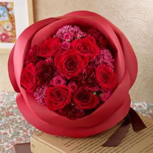 日比谷花壇 バラの形の花束ペタロ・ローザ「シャイニングレッド」|hibiyakadan
