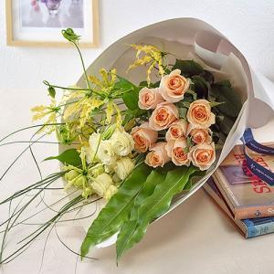 日比谷花壇 バラ 花束「ジョーヌフルール」オレンジ|hibiyakadan