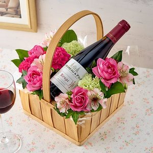 日比谷花壇 ハーフワインとアレンジメントのセット|hibiyakadan