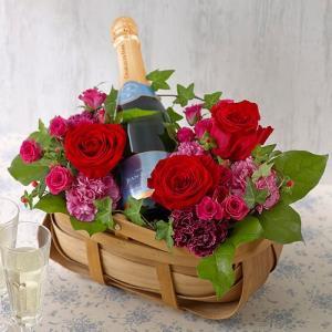 日比谷花壇 スパークリングワインとアレンジメントのセット|hibiyakadan