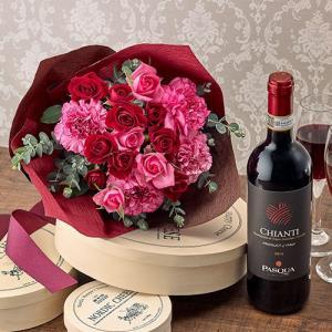 日比谷花壇 赤ワイン と バラの花束 「ローズルージュ」|hibiyakadan