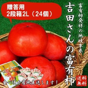 岐阜県産 贈答用「吉田さんの富有柿2段箱2Lサイズ 24個」(送料無料)|hida-mino-furusato
