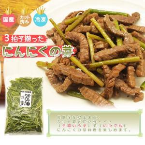 岐阜県産にんにくの芽1kg(冷凍)(カット済み)(送料無料)(国産)(にんにくの茎)|hida-mino-furusato