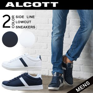 ALCOTT アルコット メンズ サイドライン ローカットスニーカー hidatakayama-store