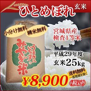 宮城県産検査1等米 ひとめぼれ 玄米 25kg|hidehiro