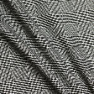 日本製 綿麻キャンバス グレンチェックプリント 白黒モノトーン D[オーダーカット生地 10cm単位...