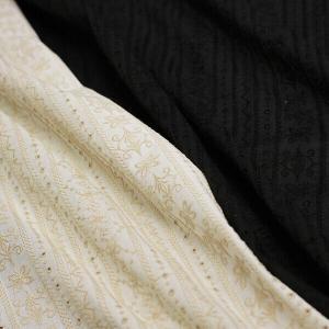 日本製 綿ローン刺繍 アラベスクシンメトリーストライプ&アイレットレース 全2色 J[オーダーカット...