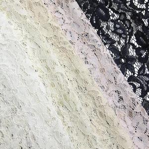 日本製 ナイロンレーヨン ラッセルコードレース ロマンチックフラワー 片耳スカラップ 5色 A[オー...