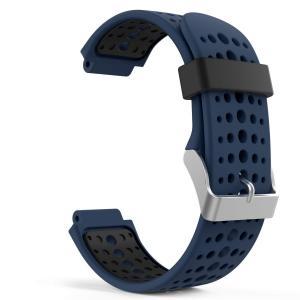 高級 シリコーン製腕時計ストラップ/バンド 交換ベルト Midnight Blue & Black(Garmin ForeAthlete 220/230/235/620/630/735に対応) higashiya