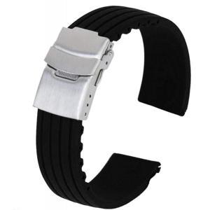 時計バンド 交換ベルトシリコーンゴム 腕時計ストラップ 防水 スキッド (20mm) higashiya
