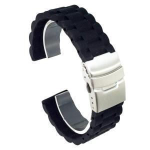 腕時計 シリコン ベルト  直カン ラバー バンド 防水 三連 ダブルロック式 バックル 長さ 調節 22mm ブラック higashiya