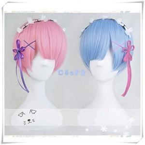 ゼロから始める異世界生活 ラム レム 風 コスプレウイッグ かつら 耐熱ウィッグ cosplaywig (ブルー) higashiya
