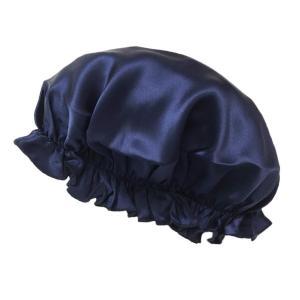 ナイトキャップ シルク100 ヘアキャップ シルクナイトキャップ 絹 シルク レディース つや 髪 トリートメント 保湿 就寝 おやすみヘアキャップ ネイビー|higashiya