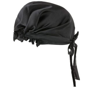 ナイトキャップ シルク 100% 絹 室内帽子 就寝用 美髪 リボン付き ブラック 枝毛防止 保湿美髪 ロングヘア用 お休みキャップ 産後用|higashiya
