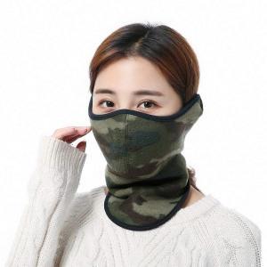 フェイスマスク フェイスガード ネックウォーマー フリース バイク用マスク 迷彩 防塵 防風 防寒対策 アウトドア 厚型 冬用 全4色 男女兼用 (グリーン)|higashiya