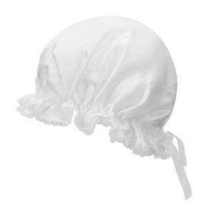 シルクナイトキャップ ロングヘア用 100% 天然シルク 室内帽子 就寝用 美髪 レースとリボン付き ホワイト|higashiya
