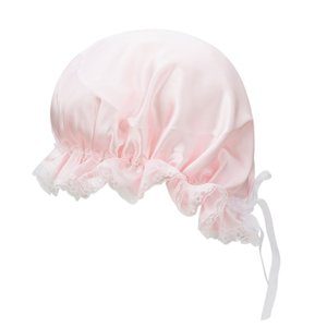 シルクナイトキャップ ロングヘア用 100% 天然シルク 室内帽子 就寝用 美髪 レースとリボン付き ピンク|higashiya