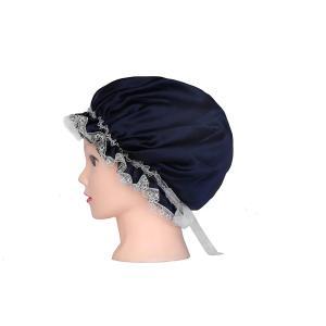 ルク ナイトキャップ 室内用キャップ レディース 天然シルク100% 就寝用 防寒 吸汗 通気 潤い ロングヘア対応 枝毛  ネイビー|higashiya