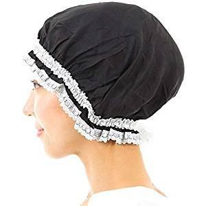 シルクナイトキャップ ナイトキャップ シルク 100% ロングヘア対応 サイズ調節 可能 ヘアケア (ブラック)|higashiya
