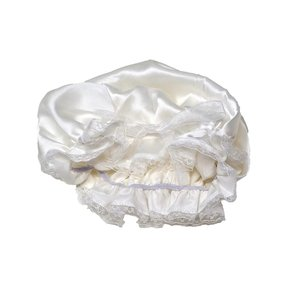 ナイトキャップ ロングヘア シルク 100% リボン サイズ調節可能 (ホワイト)|higashiya