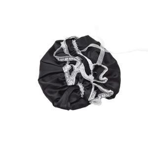 ナイトキャップ ロングヘア シルク 100% リボン サイズ調節可能 (ブラック)|higashiya