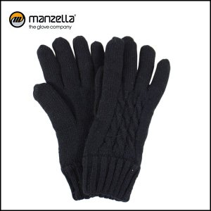 MANZELLA/マンツェラ グローブ CABLE KNIT GLOVE/BLK|highball